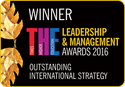 WINNER Time Higher Education Leadership and Management Awards 2016 - Outstanding International Strategy